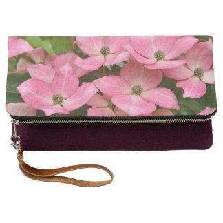 Pink kousa dogwood flowers clutch