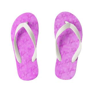 Pink Kylie Name Logos, Pink Mosaic Kid's Flip Flops