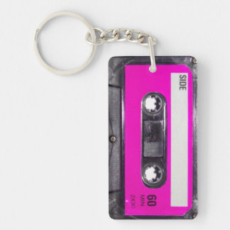 Pink Label Cassette Double-Sided Rectangular Acrylic Keychain