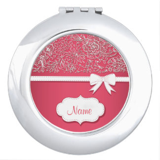 Pink Lace and Bow Personalized Compact Mirror