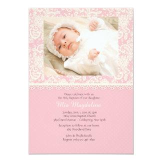 Pink Lace and Polka Dots Photo Invitation
