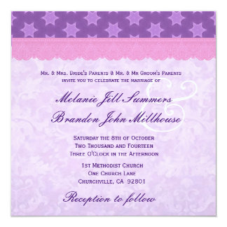 "Pink Lace and Purple Pattern Damask Wedding 5.25"" Square Invitation Card"