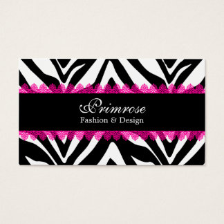 Pink Lace and Zebra Print Elegant Business Cards
