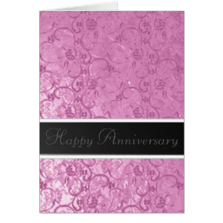 Pink Lace Anniversary Greeting Card