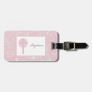 Pink Lace Girl Baptism Luggage Tag