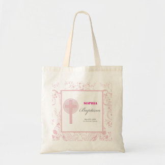 Pink Lace Girl Baptism Tote Bag