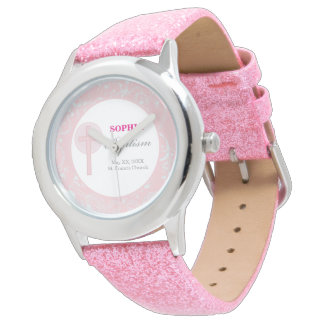 Pink Lace Girl Baptism Watch