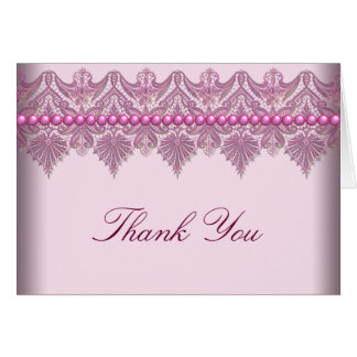 Pink Lace Pearls Pink Thank You Cards