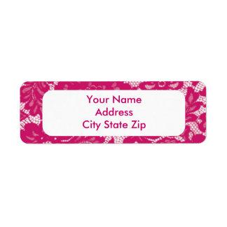 Pink Lace Return Address Label