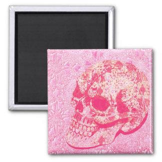 Pink lace sugar skull magnet
