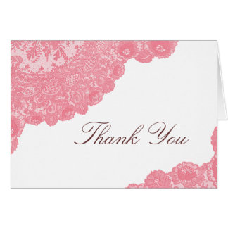 Pink Lace Wedding Thank You Card