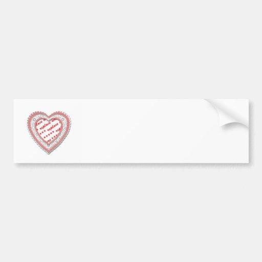 Pink Laced Heart Photo Frame Bumper Sticker