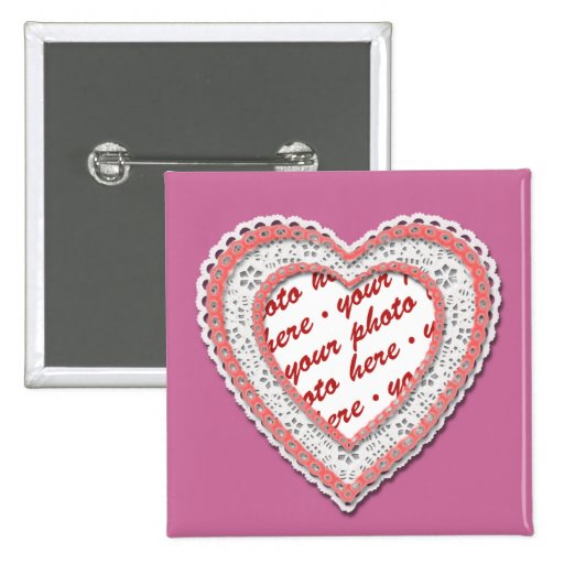 Pink Laced Heart Photo Frame Pinback Button