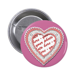 Pink Laced Heart Photo Frame Pinback Buttons