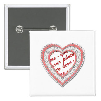 Pink Laced Heart Photo Frame Pins
