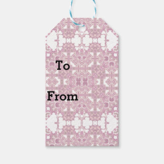 Pink Lacy Doily Kaleidoscope Pattern Gift Tags
