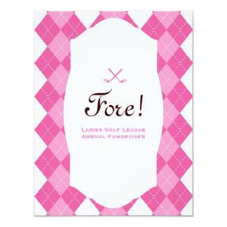 Pink Ladies Golf Party Argyle Card