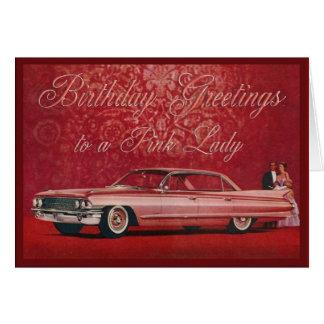 Pink Lady Birthday Card