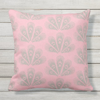 Pink Lady Feathers Throw Pillow
