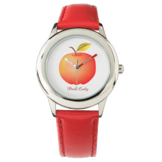 Pink Lady Red Apple Simple Chic Beautiful Charming Watch