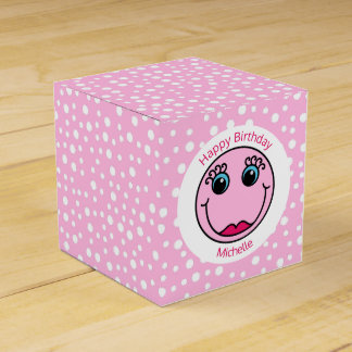 Pink Lady Smiley Face Birthday Party Favor Box