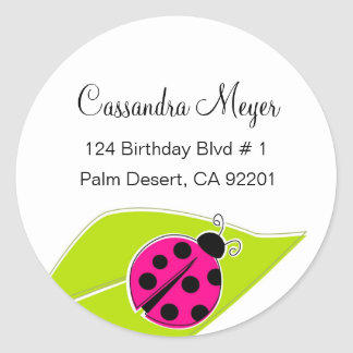 Pink Ladybug Address Labels Round Sticker