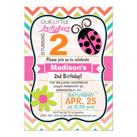 Pink Ladybug and Flower Girly Birthday Party Card