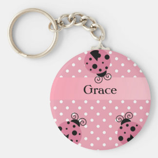 Pink Ladybug and Polka Dots Basic Round Button Keychain