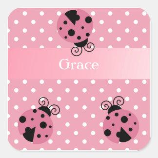 Pink Ladybug and Polka Dots Square Sticker