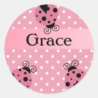 Pink Ladybug and Polka Dots Classic Round Sticker