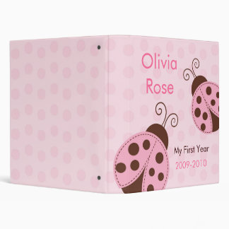 Pink Ladybug Baby Photo Album First Year 3 Ring Binders