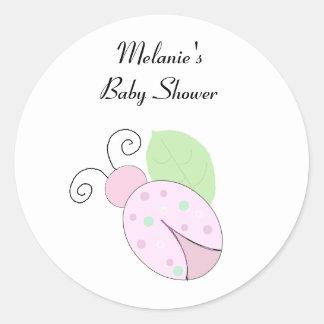 Pink Ladybug Baby Shower Round Sticker