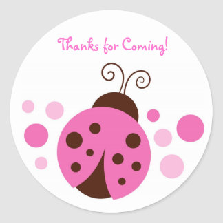 Pink Ladybug Birthday Stickers Envelope Seals