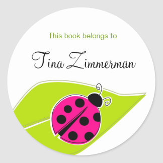 Pink Ladybug Bookplate Labels Round Sticker