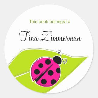 Pink Ladybug Bookplate Labels Round Sticker