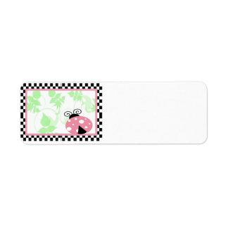 Pink Ladybug, Checkered Border & Polka Dots Custom Return Address Labels
