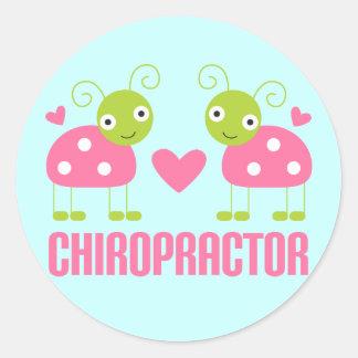 Pink Ladybug Chiropractor Gift Round Sticker