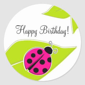 Pink Ladybug Cupcake Toppers Round Sticker