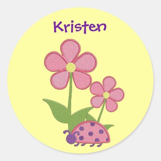 Pink Ladybug Flower Sticker