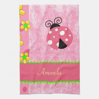 Pink Ladybug Kitchen Towel