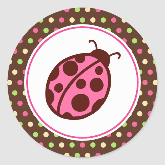 Pink Ladybug Party Stickers