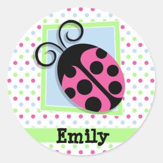 Pink Ladybug, Pink, Blue, Green, Polka Dots Round Sticker