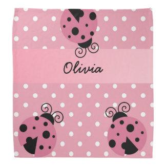 Pink Ladybug Polka Dot Personalized Bandana