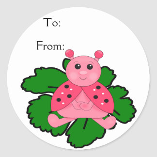 Pink Ladybug Sitting On A Leaf Round Sticker