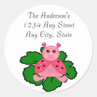 Pink Ladybug Sitting On A Leaf Round Sticker