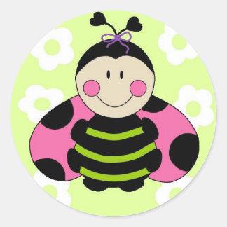 Pink Ladybug Round Sticker