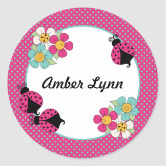 Pink Ladybugs And Flowers With Polka Dots Round Sticker