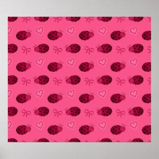 Pink ladybugs hearts bows pattern print