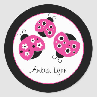 Pink Ladybugs With Black & White Flowers Round Sticker