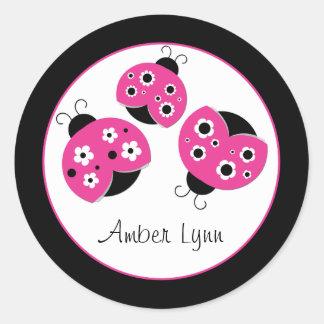 Pink Ladybugs With Black & White Flowers Round Sticker